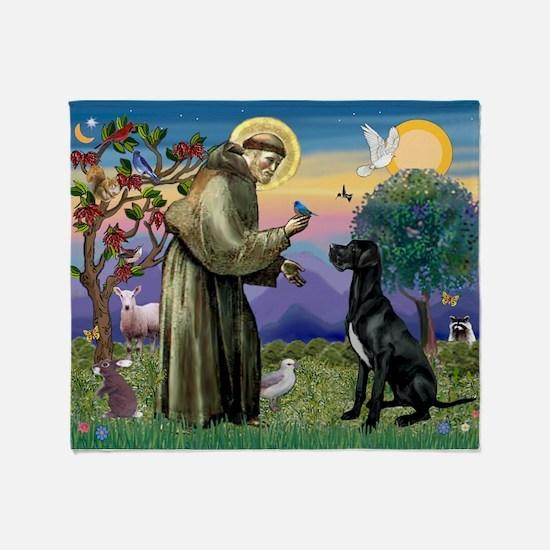 St Francis / Great Dane (blk) Throw Blanket