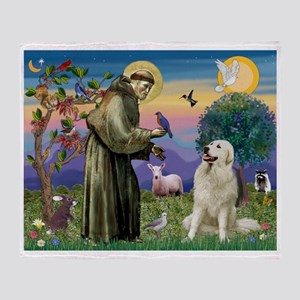 St Francis / Great Pyrenees Throw Blanket