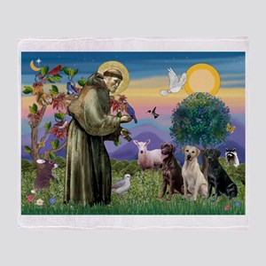 St Francis & Lab Trio Throw Blanket