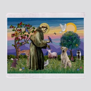 St Francis / Lab (y) Throw Blanket