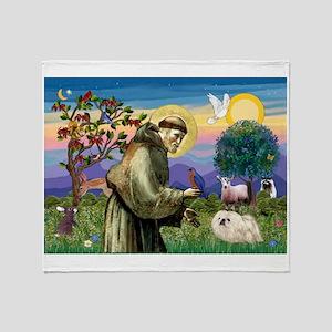 St Francis /Pekingese (w) Throw Blanket