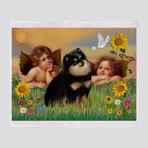 Cherubs /Pomeranian (b&t) Throw Blanket