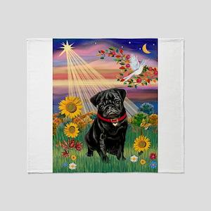 Autumn Angel / Pug (blk) Throw Blanket