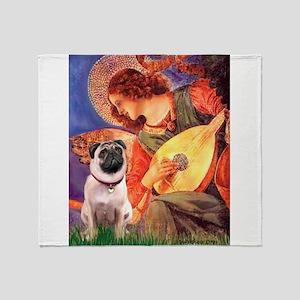 Mandolin Angel / Pug (f) Throw Blanket