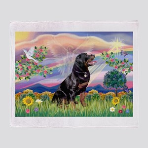 Cloud Angel / Rottweiler Throw Blanket