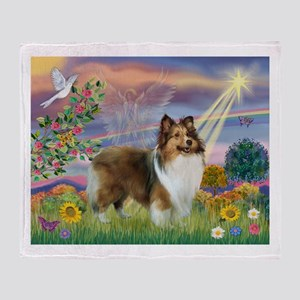 Cloud Angel & Sheltie Throw Blanket