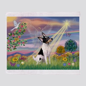 Cloud Angel /Toy Fox Terrier Throw Blanket