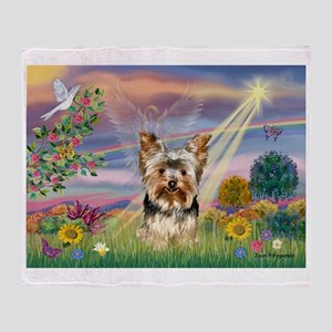 Cloud Angel & Yorkie Throw Blanket