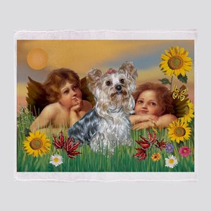 Angels with Yorkie Throw Blanket