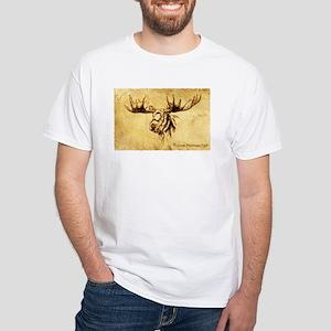 Moose Sepia Ink Drawing White T-Shirt