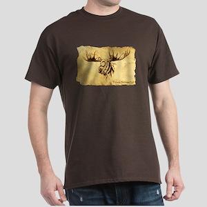Moose Sepia Ink Drawing Dark T-Shirt