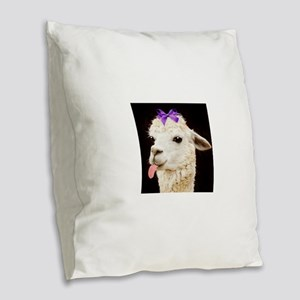 Alpaca or LLama? Burlap Throw Pillow