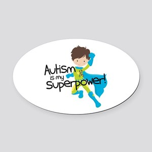 Autism Superpower Oval Car Magnet