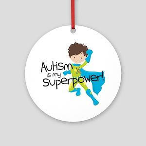 Autism Superpower Round Ornament