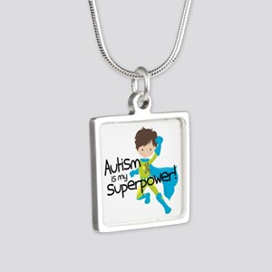 Autism Superpower Silver Square Necklace