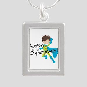 Autism Superpower Silver Portrait Necklace
