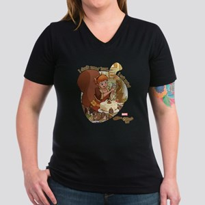 Squirrel Girl Nuts Women's V-Neck Dark T-Shirt