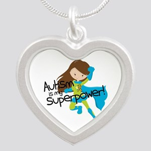 Autism Superpower Silver Heart Necklace