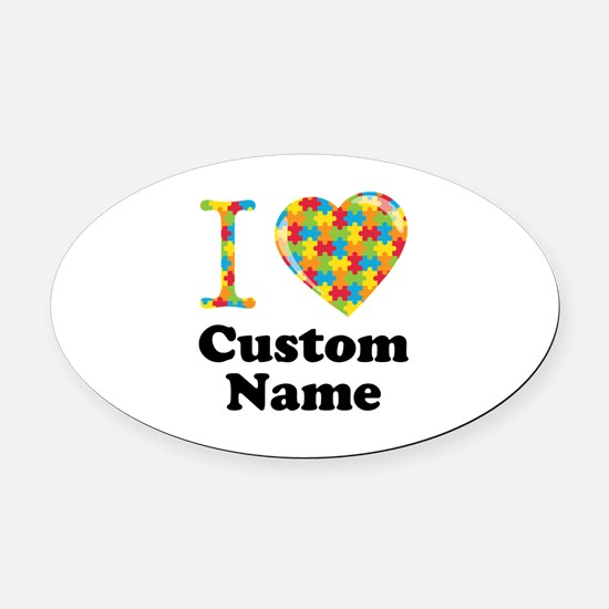 Autism Heart Oval Car Magnet