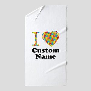Autism Heart Beach Towel