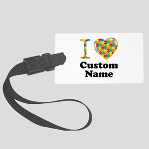 Autism Heart Large Luggage Tag