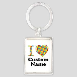 Autism Heart Portrait Keychain