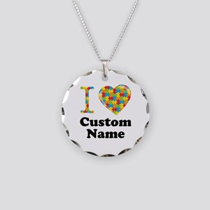 Autism Heart Necklace Circle Charm