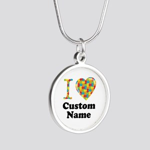 Autism Heart Silver Round Necklace