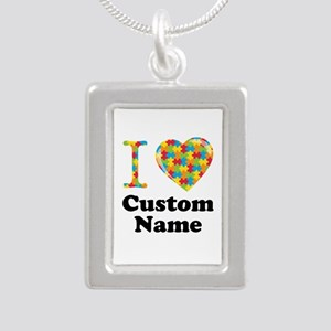 Autism Heart Silver Portrait Necklace