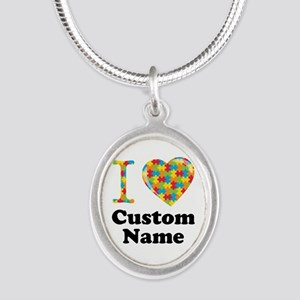 Autism Heart Silver Oval Necklace
