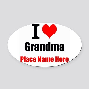 I Love Grandma Oval Car Magnet