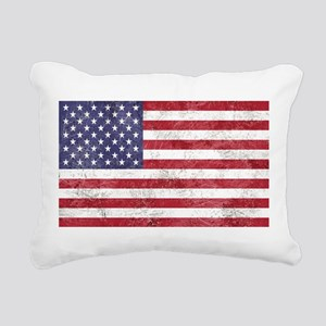 Vintage American flag Rectangular Canvas Pillow