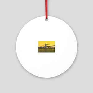 Vintage Brooklyn Bridge Janine's fa Round Ornament