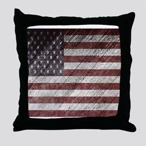 Wooden boards American flag Throw Pillow