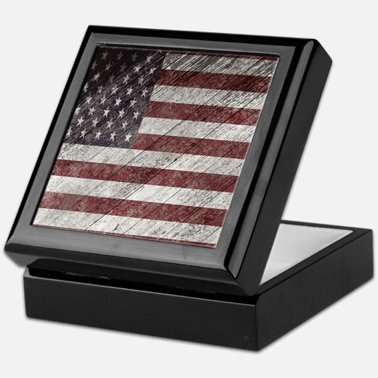 Wooden boards American flag Keepsake Box
