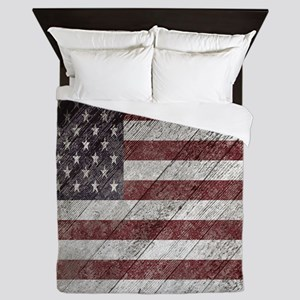 Wooden boards American flag Queen Duvet