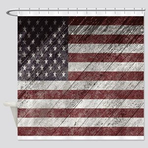 Wooden boards American flag Shower Curtain
