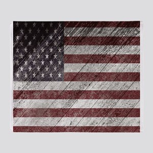 Wooden boards American flag Throw Blanket