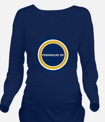 Blue and Gold Team C Long Sleeve Maternity T-Shirt