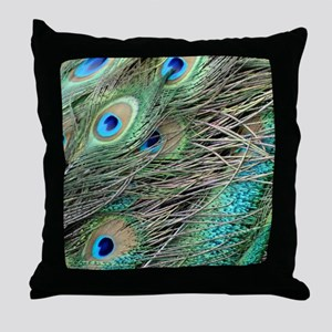 Powerful Peacock Eyes Throw Pillow