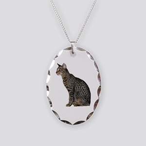 Savannah Cat Necklace Oval Charm