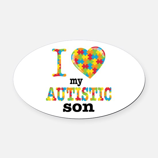 Autistic Son Oval Car Magnet