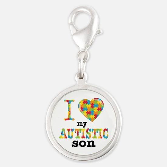 Autistic Son Silver Round Charm