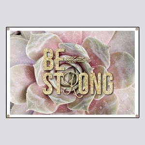strong typography pink succulents Banner