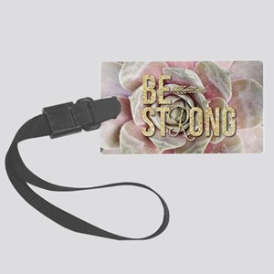 strong typography pink succulent Large Luggage Tag
