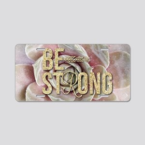 strong typography pink succ Aluminum License Plate