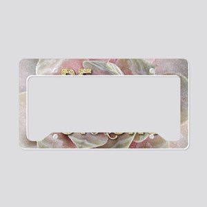 strong typography pink succul License Plate Holder
