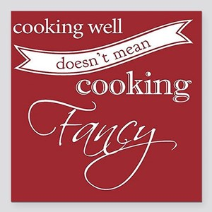 "Cooking Well Square Car Magnet 3"" x 3"""