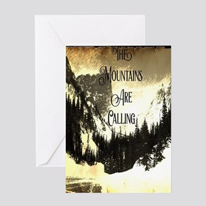 vintage mountains are calling Greeting Cards