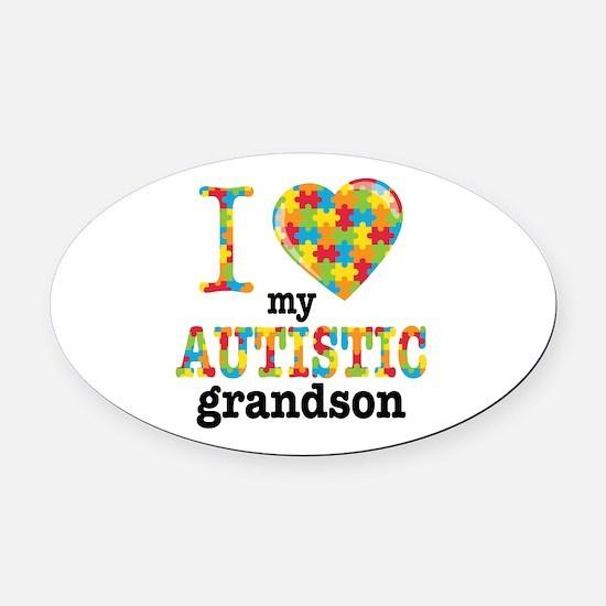 Autistic Grandson Oval Car Magnet